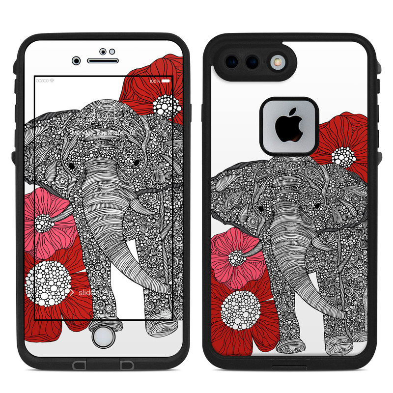 LifeProof iPhone 8 Plus fre Case Skin design of Indian elephant, Elephants and Mammoths, African elephant, Line art, Illustration with gray, black, white, red colors