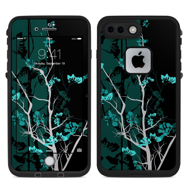 LifeProof iPhone 8 Plus fre Case Skin design of Branch, Black, Blue, Green, Turquoise, Teal, Tree, Plant, Graphic design, Twig with black, blue, gray colors