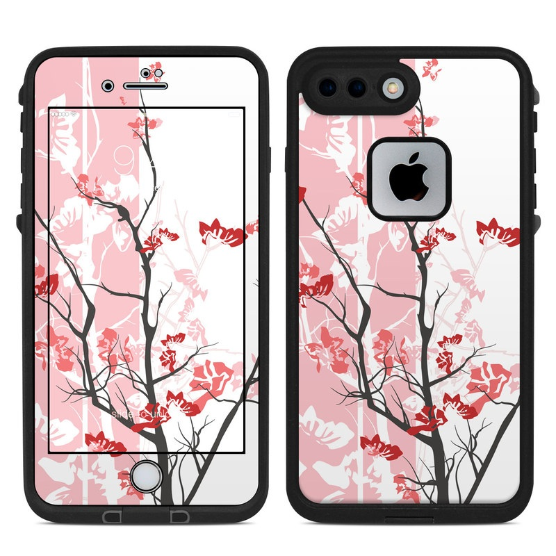 LifeProof iPhone 8 Plus fre Case Skin design of Branch, Red, Flower, Plant, Tree, Twig, Blossom, Botany, Pink, Spring with white, pink, gray, red, black colors