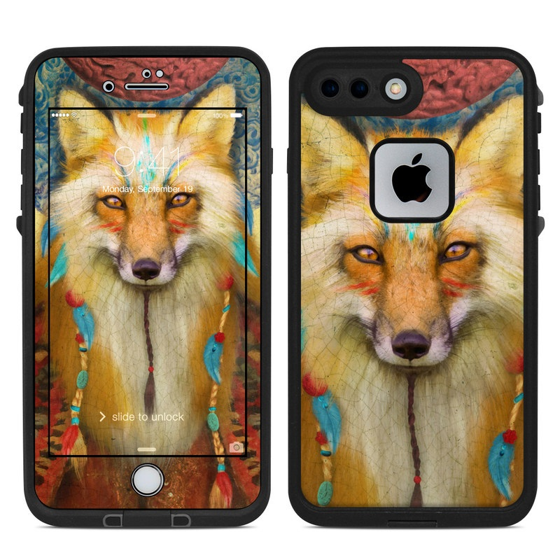LifeProof iPhone 8 Plus fre Case Skin design of Red fox, Canidae, Fox, Wildlife, Swift fox, Carnivore, Jackal, Fur, Snout, Art with red, black, gray, green, blue colors