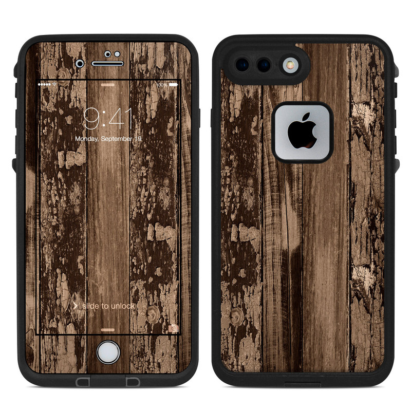 LifeProof iPhone 8 Plus fre Case Skin design of Wood, Tree, Brown, Plank, Trunk, Pattern, Line, Hardwood, Black-and-white, Forest with brown, black colors