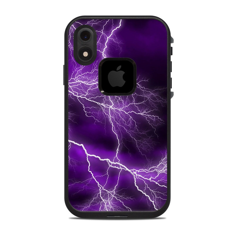 LifeProof iPhone XR fre Case Skin design of Thunder, Lightning, Thunderstorm, Sky, Nature, Purple, Violet, Atmosphere, Storm, Electric blue with purple, black, white colors