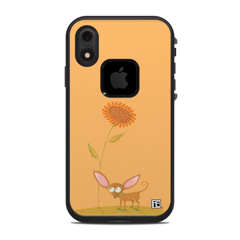 LifeProof iPhone XR fre Case Skin design of Illustration, Botany, Plant, Flower, Wildflower, Fawn, Art, Wildlife, Drawing with orange, green, pink, yellow, brown colors
