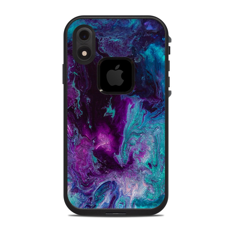 LifeProof iPhone XR fre Case Skin design of Blue, Purple, Violet, Water, Turquoise, Aqua, Pink, Magenta, Teal, Electric blue with blue, purple, black colors