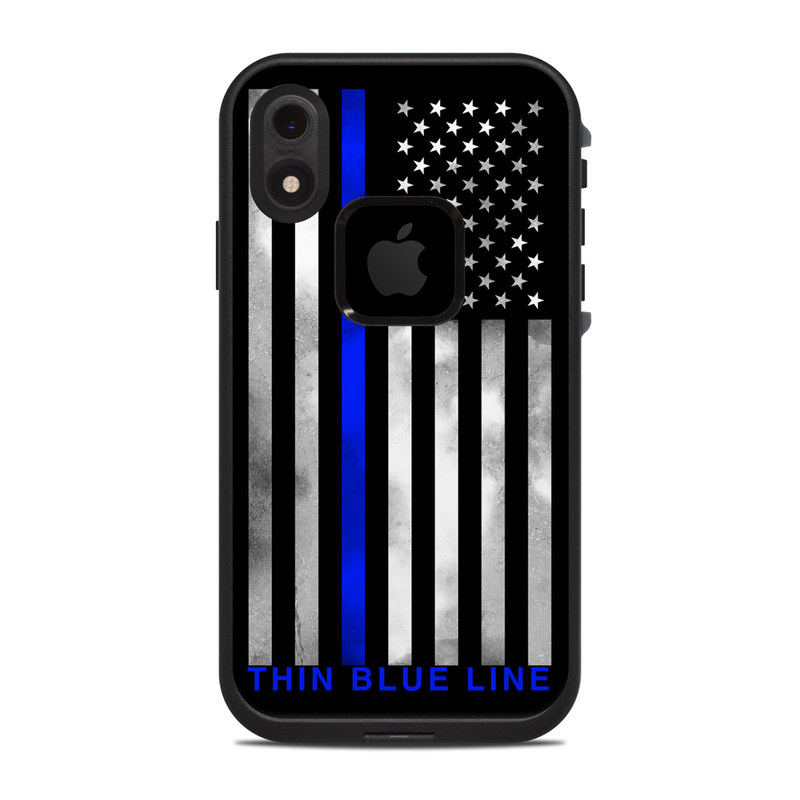 LifeProof iPhone XR fre Case Skin design of Line, Flag, Text, Flag of the united states, Font, Parallel, Symmetry, Black-and-white, Pattern, Graphics with black, white, gray, blue colors
