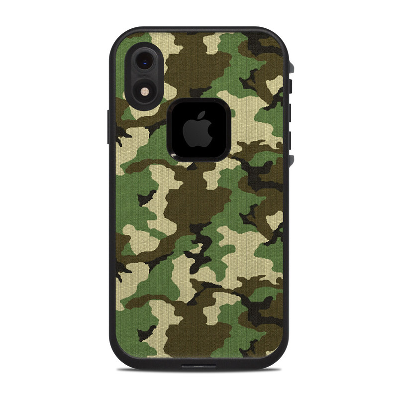 LifeProof iPhone XR fre Case Skin design of Military camouflage, Camouflage, Clothing, Pattern, Green, Uniform, Military uniform, Design, Sportswear, Plane with black, gray, green colors