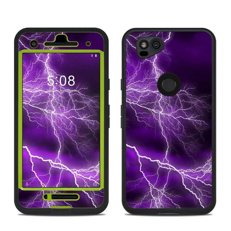 LifeProof Pixel 2 fre Case Skin design of Thunder, Lightning, Thunderstorm, Sky, Nature, Purple, Violet, Atmosphere, Storm, Electric blue with purple, black, white colors