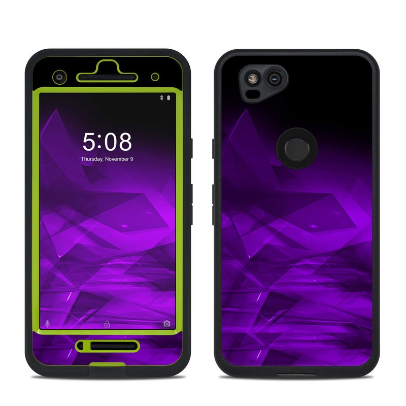 LifeProof Pixel 2 fre Case Skin design of Violet, Purple, Pink, Magenta, Blue, Light, Red, Lilac, Petal, Electric blue with black, purple colors