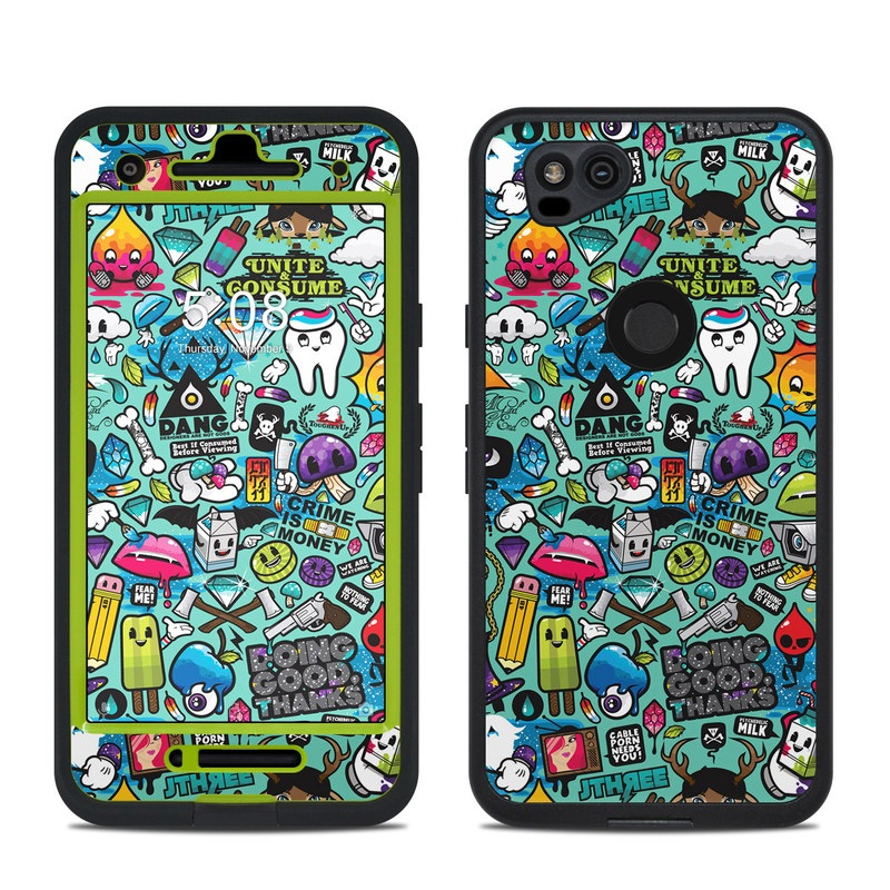 LifeProof Pixel 2 fre Case Skin design of Cartoon, Art, Pattern, Design, Illustration, Visual arts, Doodle, Psychedelic art with black, blue, gray, red, green colors