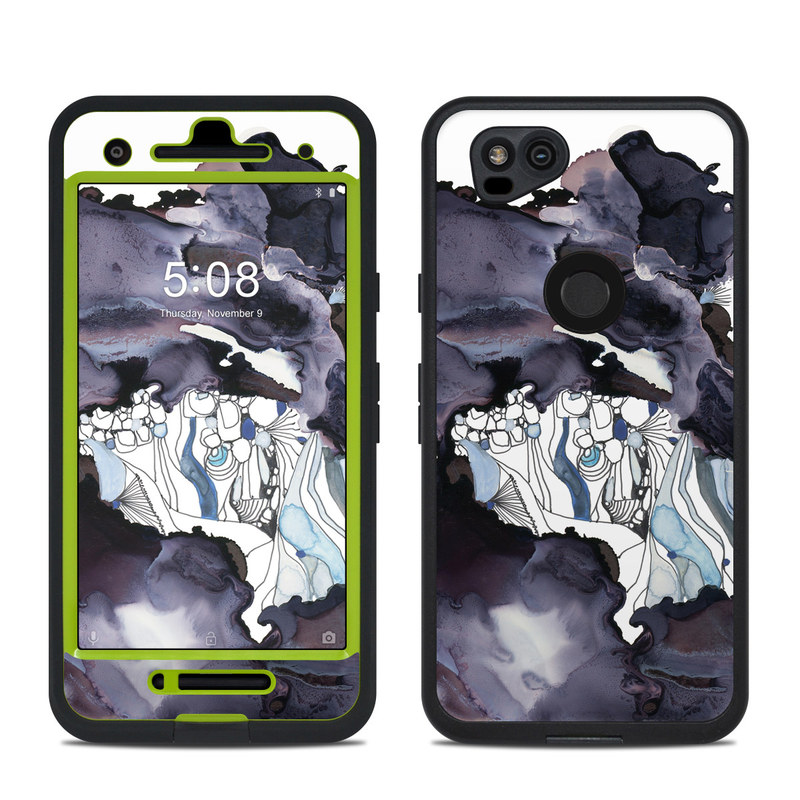 LifeProof Pixel 2 fre Case Skin design of Watercolor paint, Illustration, Art, World, Paint, Cg artwork, Drawing, Graphic design, Animation, Rock with black, purple, white, blue colors