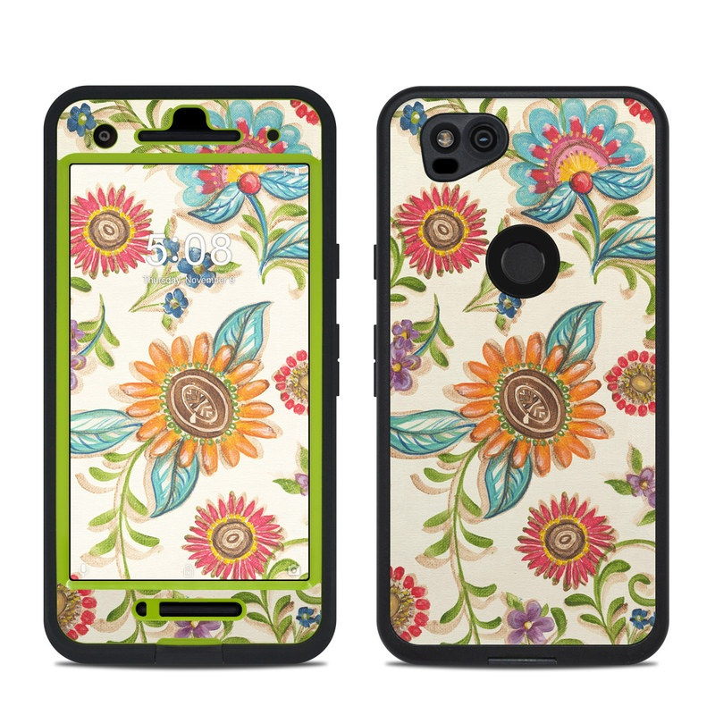 LifeProof Pixel 2 fre Case Skin design of Pattern, Floral design, Flower, Botany, Design, Visual arts, Textile, Plant, Wildflower, Pedicel with gray, green, pink, yellow, red, blue colors