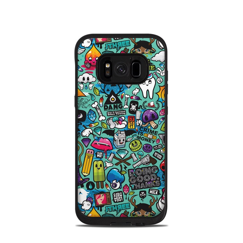 LifeProof Galaxy S8 fre Case Skin design of Cartoon, Art, Pattern, Design, Illustration, Visual arts, Doodle, Psychedelic art with black, blue, gray, red, green colors