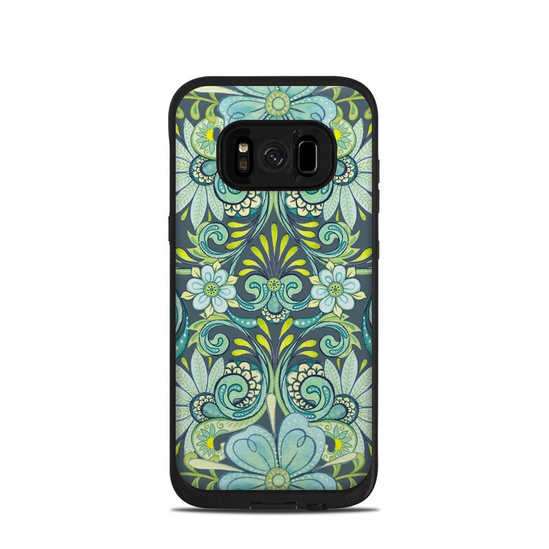 LifeProof Galaxy S8 fre Case Skin design of Pattern, Green, Aqua, Teal, Turquoise, Visual arts, Design, Motif, Textile with gray, black, blue, green colors
