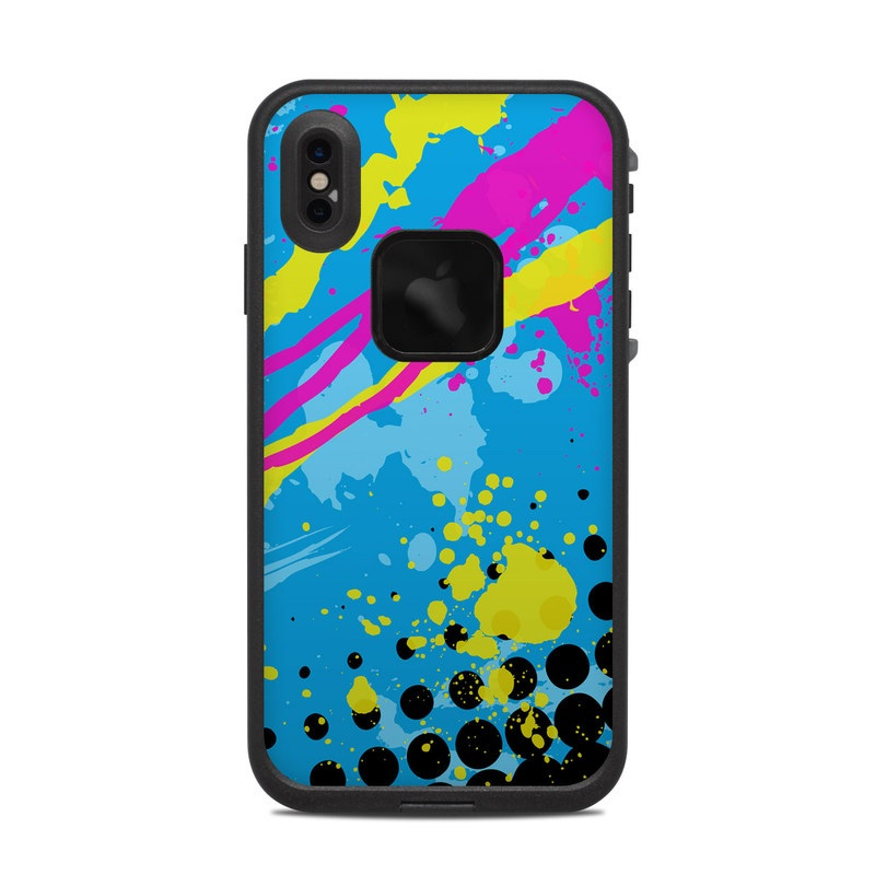 LifeProof iPhone XS Max fre Case Skin design of Blue, Colorfulness, Graphic design, Pattern, Water, Line, Design, Graphics, Illustration, Visual arts with blue, black, yellow, pink colors