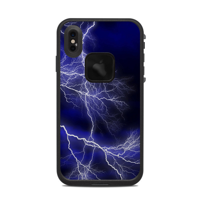 LifeProof iPhone XS Max fre Case Skin design of Thunder, Lightning, Thunderstorm, Sky, Nature, Electric blue, Atmosphere, Daytime, Blue, Atmospheric phenomenon with blue, black, white colors