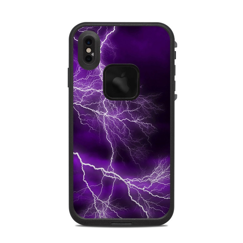 LifeProof iPhone XS Max fre Case Skin design of Thunder, Lightning, Thunderstorm, Sky, Nature, Purple, Violet, Atmosphere, Storm, Electric blue with purple, black, white colors