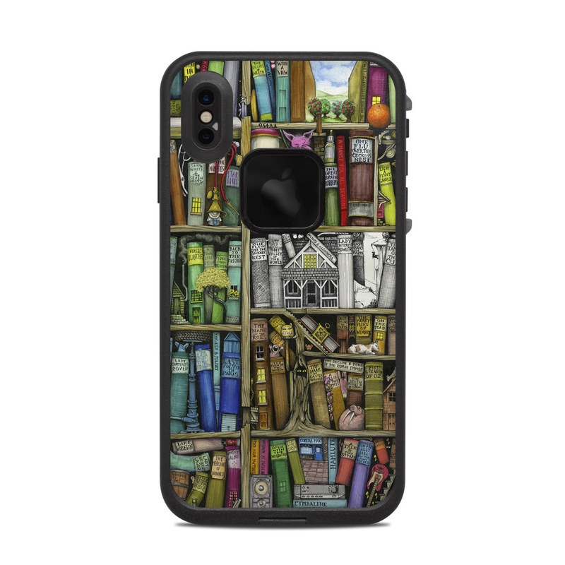 LifeProof iPhone XS Max fre Case Skin design of Collection, Art, Visual arts, Bookselling, Shelving, Painting, Building, Shelf, Publication, Modern art with brown, green, blue, red, pink colors