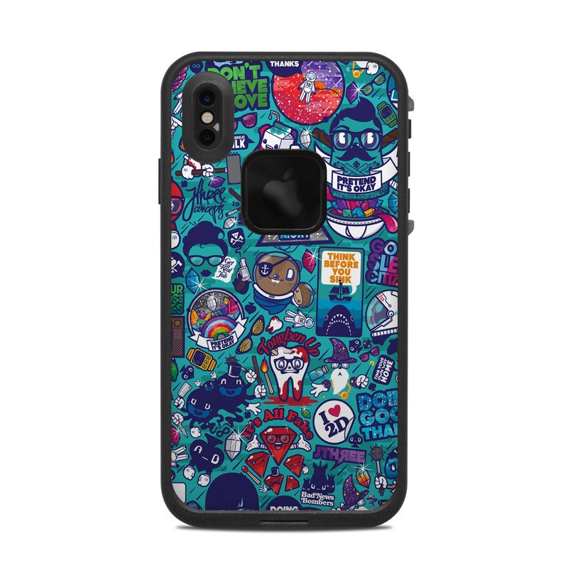 LifeProof iPhone XS Max fre Case Skin design of Art, Visual arts, Illustration, Graphic design, Psychedelic art with blue, black, gray, red, green colors