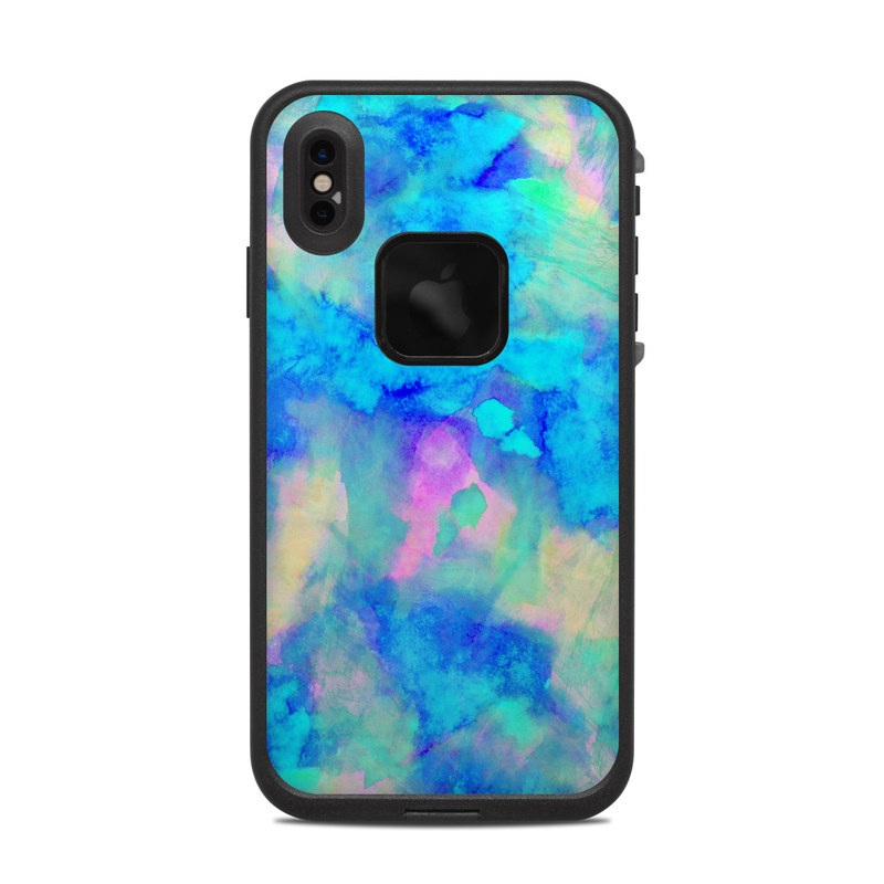 LifeProof iPhone XS Max fre Case Skin design of Blue, Turquoise, Aqua, Pattern, Dye, Design, Sky, Electric blue, Art, Watercolor paint with blue, purple colors