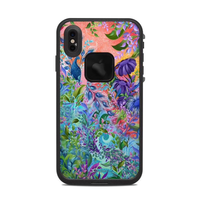 LifeProof iPhone XS Max fre Case Skin design of Psychedelic art, Painting, Art, Acrylic paint, Pattern, Modern art, Visual arts, Textile, Design, Organism with gray, blue, green, pink colors