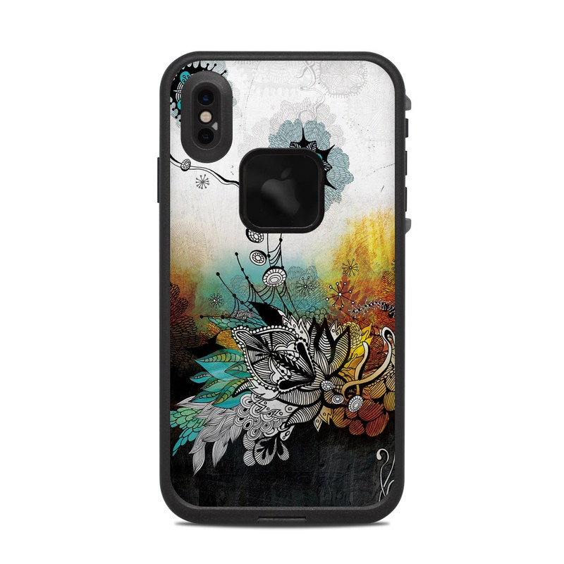LifeProof iPhone XS Max fre Case Skin design of Graphic design, Illustration, Art, Design, Visual arts, Floral design, Font, Graphics, Modern art, Painting with black, gray, red, green, blue colors