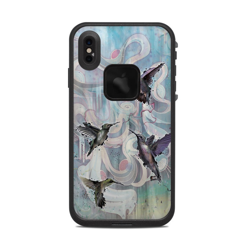 LifeProof iPhone XS Max fre Case Skin design of Bird, Watercolor paint, Illustration, Hummingbird, Painting, Art, Wing, Fictional character, Acrylic paint, Perching bird with gray, blue, black colors