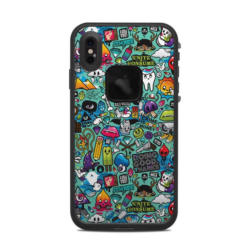 LifeProof iPhone XS Max fre Case Skin design of Cartoon, Art, Pattern, Design, Illustration, Visual arts, Doodle, Psychedelic art with black, blue, gray, red, green colors
