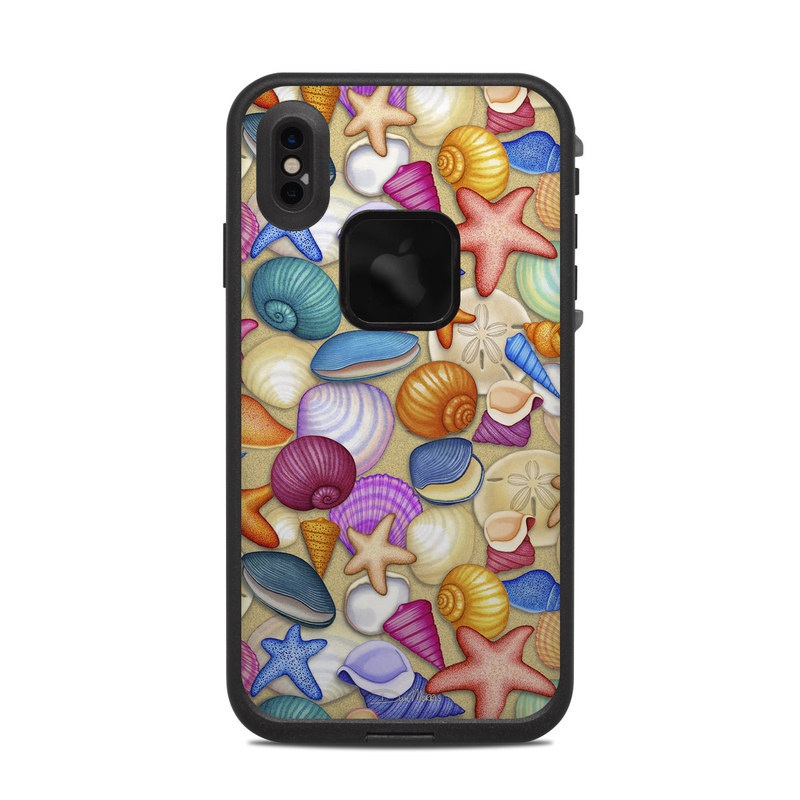 LifeProof iPhone XS Max fre Case Skin design of Shell, Organism, Pattern, Clip art, Graphics, Starfish, Illustration, Art with gray, pink, green, blue, red, purple colors