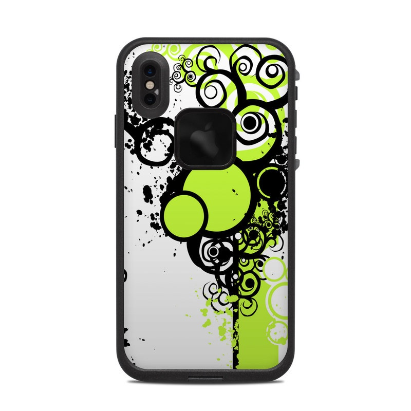 LifeProof iPhone XS Max fre Case Skin design of Green, Circle, Graphic design, Leaf, Visual arts, Font, Design, Line, Pattern, Clip art with white, black, green, gray colors
