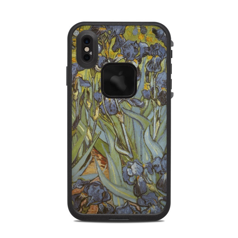 LifeProof iPhone XS Max fre Case Skin design of Painting, Plant, Art, Flower, Iris, Modern art, Perennial plant with gray, green, black, red, blue colors