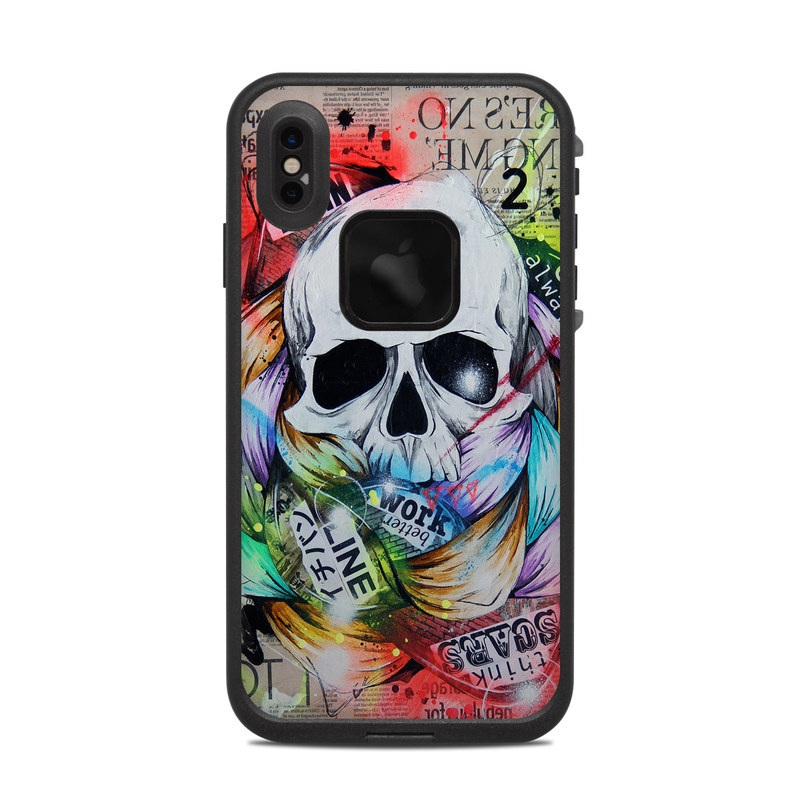 LifeProof iPhone XS Max fre Case Skin design of Street art, Text, Graphic design, Font, Illustration, Art, Graffiti, Skull, Poster, Advertising with gray, black, red, green, blue colors