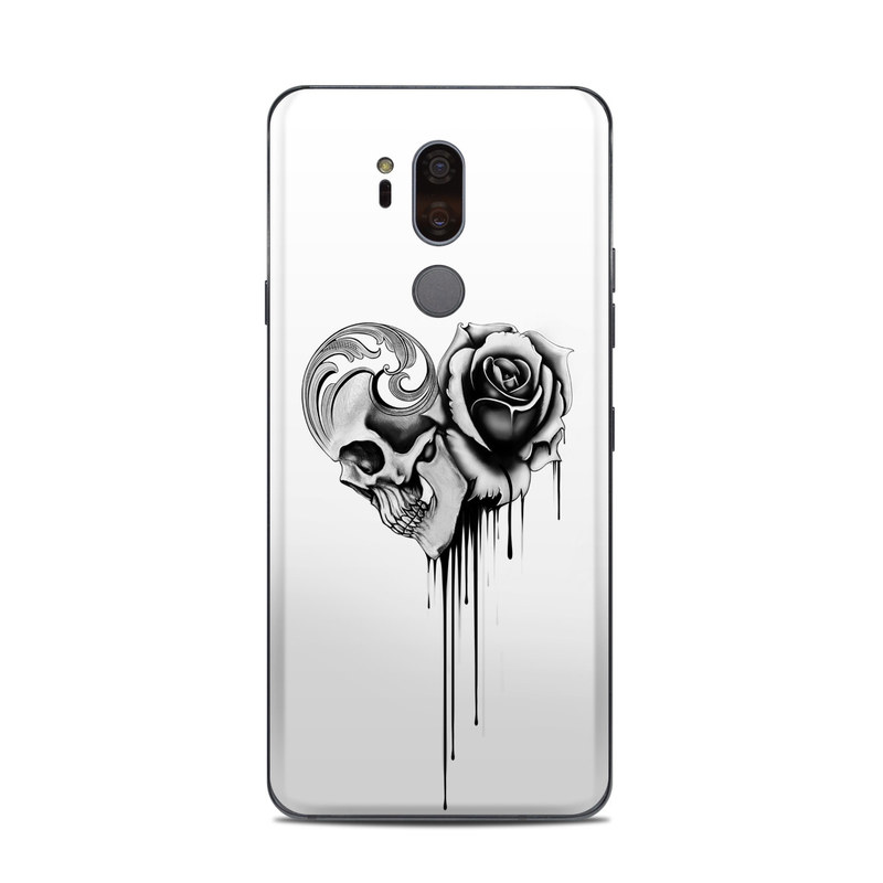 LG G7 ThinQ Skin design of Black-and-white, Illustration, Monochrome, Rose, Plant, Style, Metal, Drawing with white, black, gray colors
