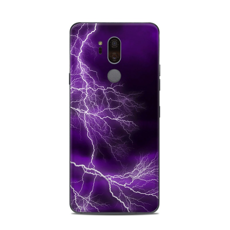 LG G7 ThinQ Skin design of Thunder, Lightning, Thunderstorm, Sky, Nature, Purple, Violet, Atmosphere, Storm, Electric blue with purple, black, white colors