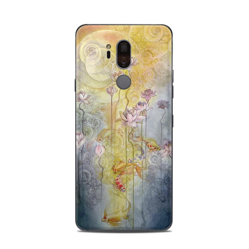 LG G7 ThinQ Skin design of Watercolor paint, Painting, Art, Yellow, Flower, Acrylic paint, Floral design, Visual arts, Modern art, Illustration with blue, red, orange, pink, yellow colors