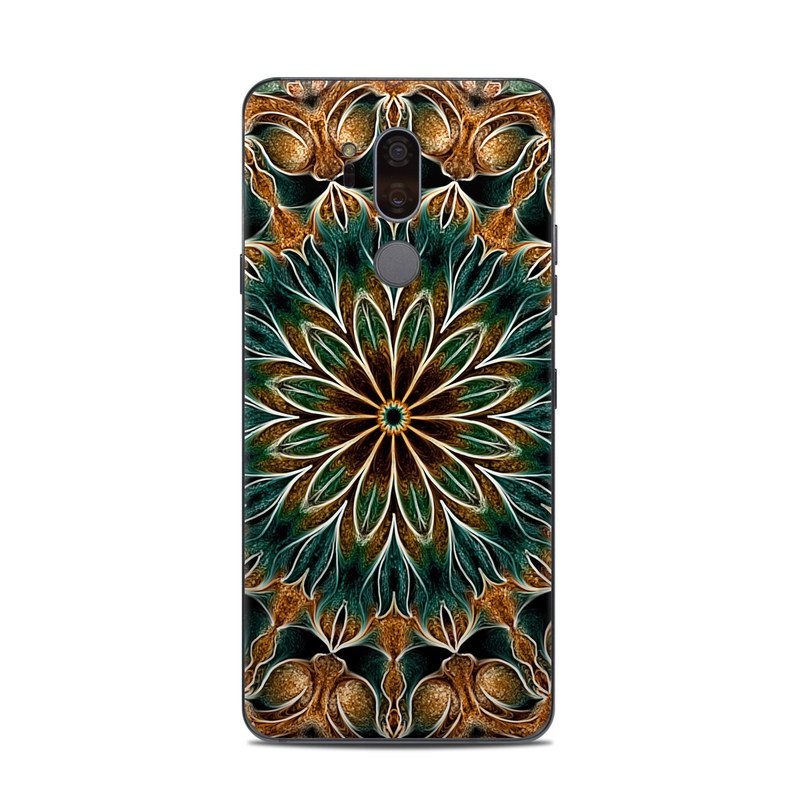 LG G7 ThinQ Skin design of Pattern, Symmetry, Textile, Art, Psychedelic art, Tapestry, Design, Visual arts, Kaleidoscope, Motif with green, orange, yellow, brown, red colors