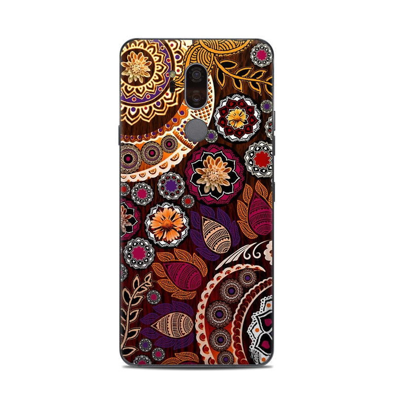 LG G7 ThinQ Skin design of Pattern, Motif, Visual arts, Design, Art, Floral design, Textile, Paisley, Tapestry, Circle with brown, purple, red, white, black colors