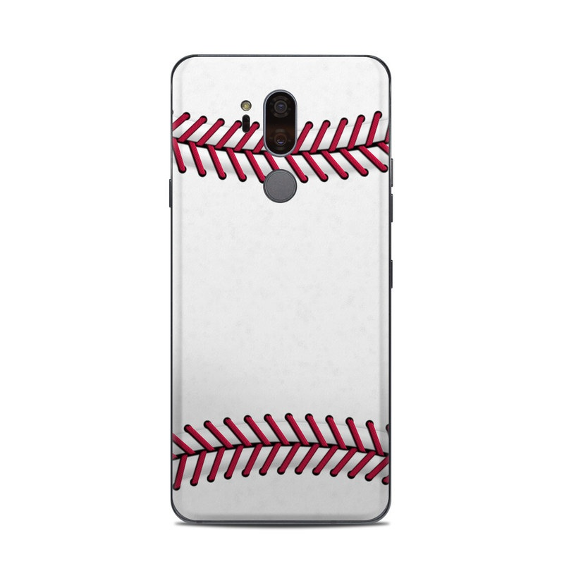LG G7 ThinQ Skin design of Red, Line, Pink, Parallel, Paper with white, red colors