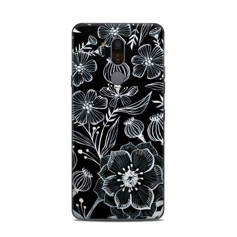 LG G7 ThinQ Skin design of Pattern, Black-and-white, Flower, Monochrome photography, Plant, Design, Monochrome, Botany, Wildflower, Visual arts with black, white colors