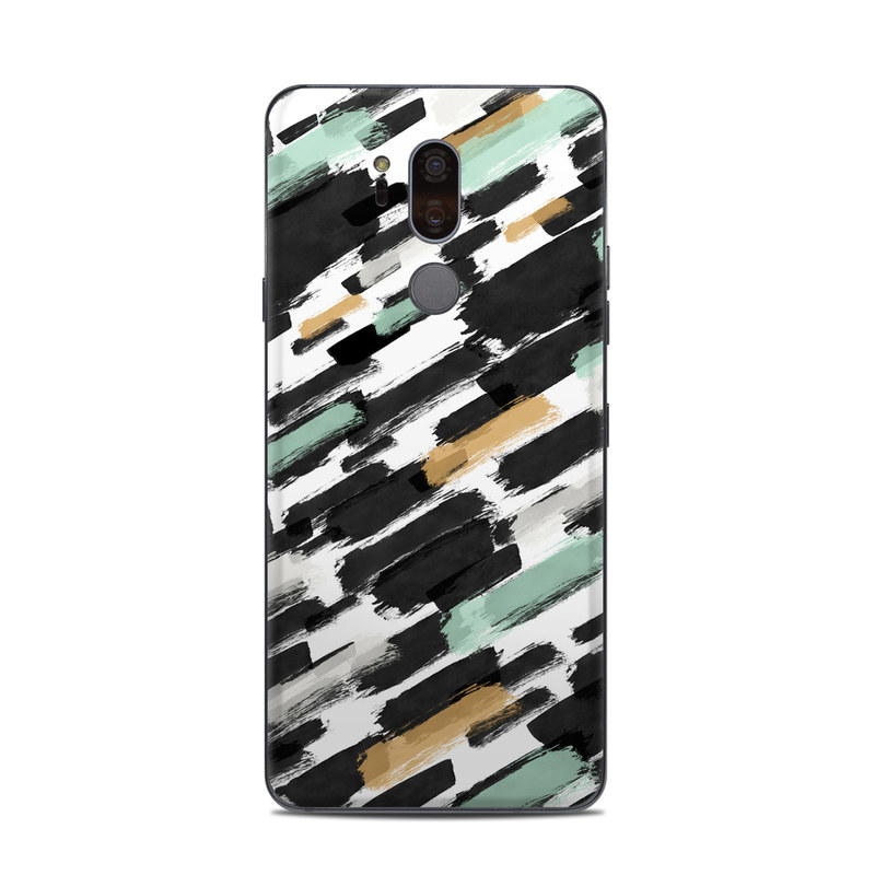LG G7 ThinQ Skin design of Pattern, Line, Design, Material property, Rectangle with black, white, orange, blue, yellow colors