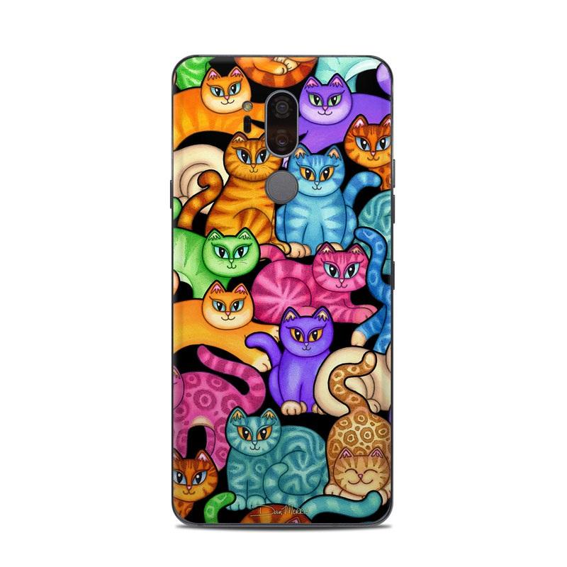LG G7 ThinQ Skin design of Cat, Cartoon, Felidae, Organism, Small to medium-sized cats, Illustration, Animated cartoon, Wildlife, Kitten, Art with black, blue, red, purple, green, brown colors