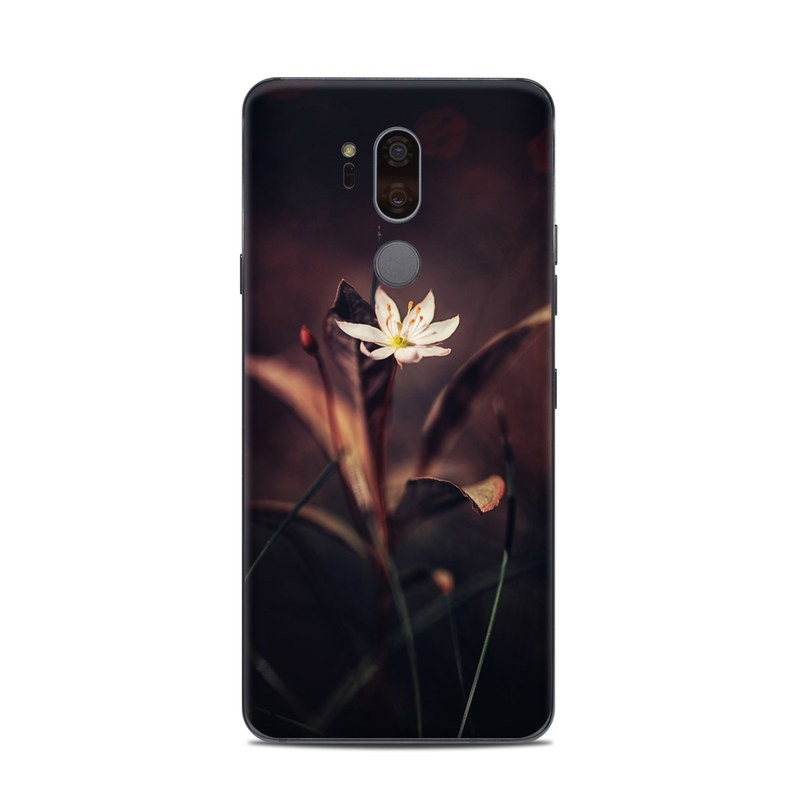 LG G7 ThinQ Skin design of Flower, Yellow, Light, Plant, Sky, Still life photography, Wildflower, Petal, Darkness, Spring with black, red colors
