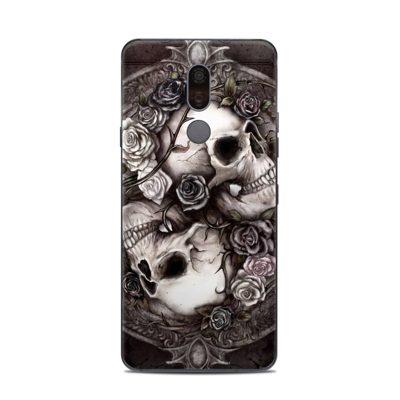 LG G7 ThinQ Skin design of Skull, Bone, Illustration, Font, Still life photography, Photography, Still life, Art, Monochrome, Circle with black, white, brown, pink colors