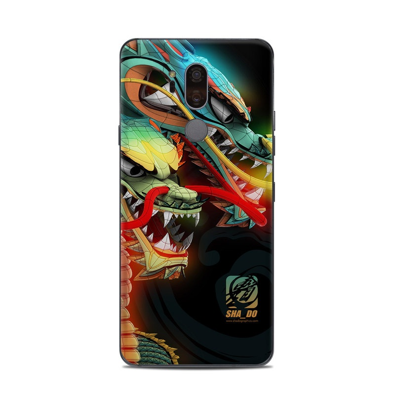LG G7 ThinQ Skin design of Dragon, Fictional character, Illustration, Art, Cg artwork, Fiction, Mythical creature, Graphics with black, green, red, yellow, orange colors
