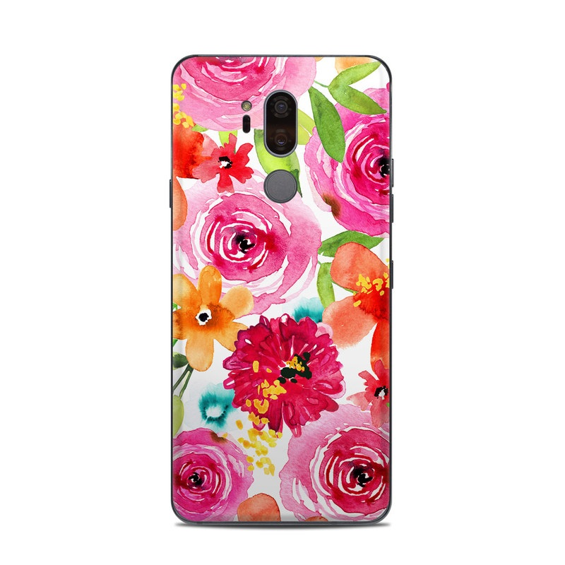 LG G7 ThinQ Skin design of Flower, Cut flowers, Floral design, Plant, Pink, Bouquet, Petal, Flower Arranging, Artificial flower, Clip art with pink, red, green, orange, yellow, blue, white colors