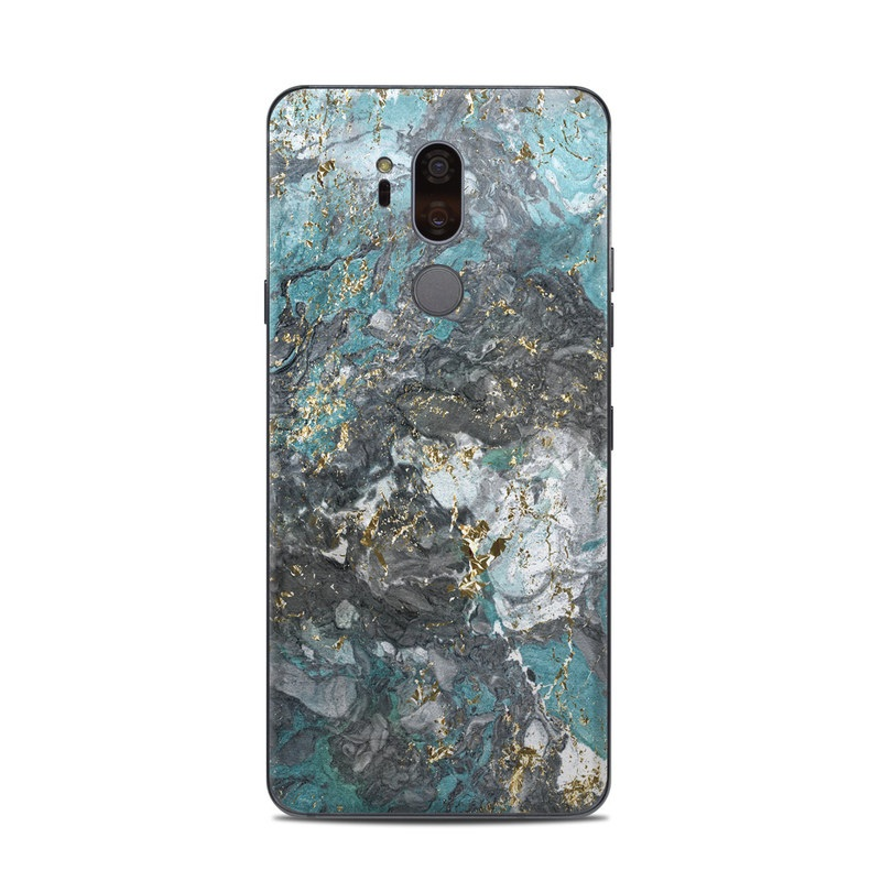 LG G7 ThinQ Skin design of Blue, Turquoise, Green, Aqua, Teal, Geology, Rock, Painting, Pattern with black, white, gray, green, blue colors