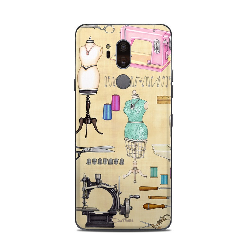 LG G7 ThinQ Skin design of Design, Machine, Clip art, Illustration, Art with pink, gray, black, green colors