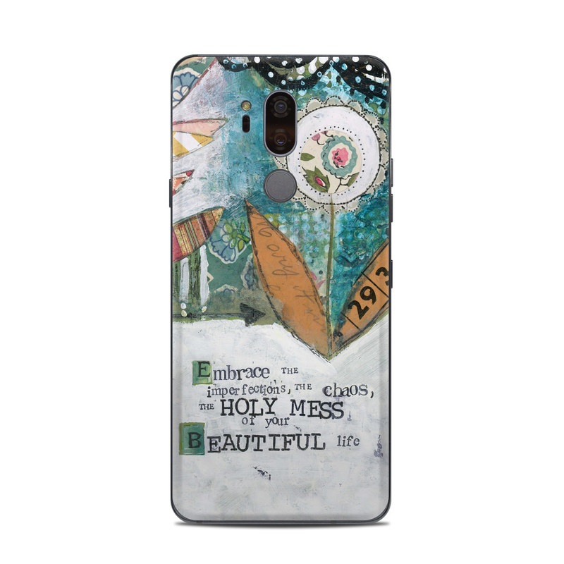LG G7 ThinQ Skin design of Leaf, Font, Plant, Illustration, Art with blue, white, green, red, orange, yellow colors