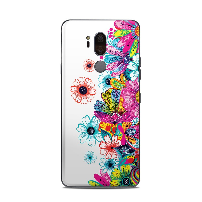 LG G7 ThinQ Skin design of Pattern, Floral design, Design, Graphic design, Flower, Wildflower, Plant, Graphics, Clip art, Visual arts with white, pink, blue, yellow, purple, red colors