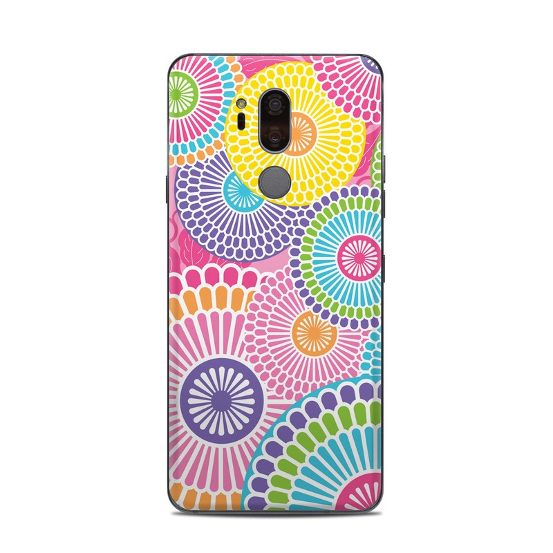 LG G7 ThinQ Skin design of Pattern, Circle, Textile, Design, Visual arts, Wrapping paper with gray, pink, purple, orange, blue, green colors