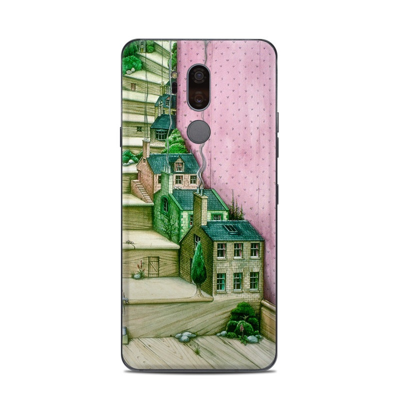 LG G7 ThinQ Skin design of Green, Stairs, House, Watercolor paint, Home, Illustration, Building, Wood, Plant, Sketch with pink, green, brown colors